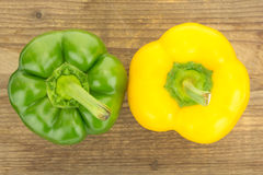 Fresh yellow and green bell peppers Royalty Free Stock Photography