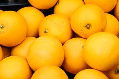 Fresh yellow lemons in street market Royalty Free Stock Photography