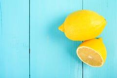 Fresh Yellow Lemons On Table stock photo