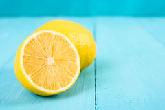 Fresh Yellow Lemons On Table stock photography