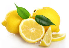 Fresh yellow lemons on white background Stock Images