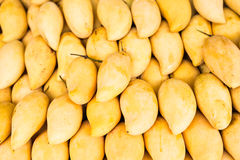 Fresh yellow mango. Fruit market with various colorful fresh fruits and vegetables Royalty Free Stock Photos