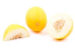 Fresh yellow melon with half Stock Image