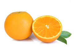 Fresh yellow oranges  on white. Background Royalty Free Stock Image