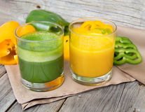 Fresh yellow paprika smoothie juice Royalty Free Stock Images