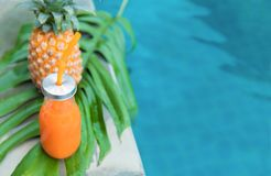 Fresh yellow pineapple tropic fruit summer refreshment smoothie Royalty Free Stock Photography
