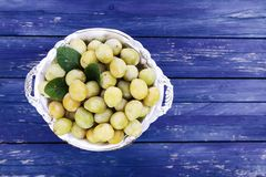 Fresh yellow plums. Ripe fruits in a plate on blue boards background stock photo