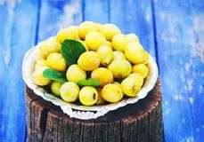 Fresh yellow plums. Ripe fruits in a plate on wood stump. Fresh yellow plums. Ripe fruits in a plate on wood stump royalty free stock image