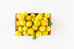 Yellow plums. Ripe fruits in a wooden box on white background royalty free stock photo