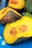 Fresh yellow pumpkin on the market Royalty Free Stock Photography