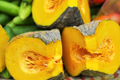 Fresh yellow pumpkin on the market Royalty Free Stock Photo