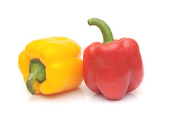 Fresh yellow and red bell peppers Stock Photos