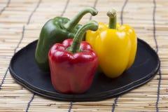 Fresh yellow red green Bell Pepper Stock Photos