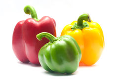 Fresh yellow, red and green bell peppers Royalty Free Stock Photo