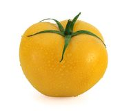 Fresh yellow tomato with waterdrops Royalty Free Stock Photo
