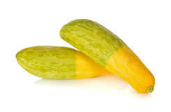 Fresh yellow zucchini on white Stock Images