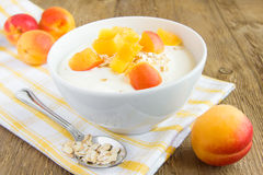 Fresh yogurt with apricots Royalty Free Stock Photo