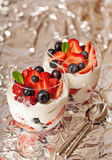 Fresh yogurt with berries light breakfast Royalty Free Stock Photography