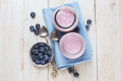 Fresh yogurt with blueberries Stock Photo