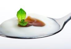 Fresh yogurt with cream Royalty Free Stock Photo