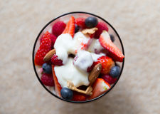 Fresh yogurt with fruits and muesli for breakfast Stock Photography