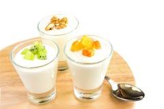 Fresh yogurt with fruits Royalty Free Stock Photo