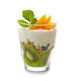Fresh Yogurt with kiwi isolated. Royalty Free Stock Photos