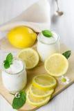 Fresh yogurt with lemon. Stock Images