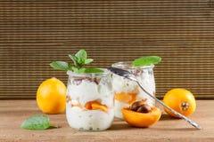 Fresh yogurt with  loquats Stock Photo