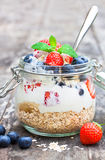 Fresh yogurt with  oat flakes and berries Royalty Free Stock Photo