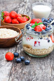 Fresh yogurt with oat flakes and berries Royalty Free Stock Images