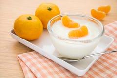 Fresh yogurt with orange fruit in bowl Stock Images