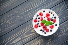 Fresh yogurt with raspberry Royalty Free Stock Photo