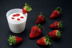 Fresh yogurt's mousse with strawberry cream Royalty Free Stock Photography
