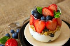 Fresh Yogurt with strawberries . Stock Photo