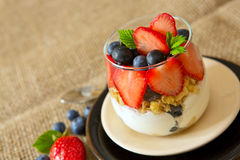 Fresh Yogurt with strawberries . Royalty Free Stock Photo