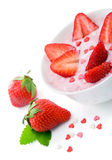 Fresh yogurt with strawberry and candies. Royalty Free Stock Photos