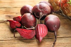 Fresh young beets. On table Royalty Free Stock Image