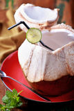 Fresh young coconut water Stock Images