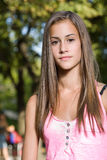 Fresh young friendly student girl. Stock Image