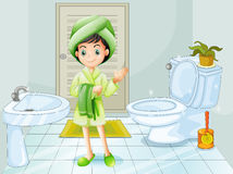 A fresh young girl at the bathroom vector illustration