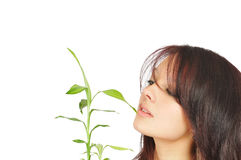 Fresh young girl looks at bamboo top Royalty Free Stock Photos
