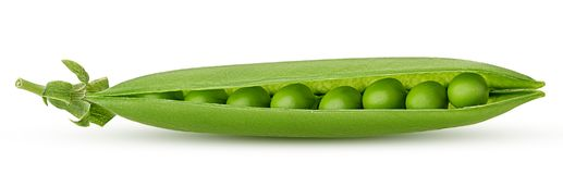 Fresh young green peas. Isolated on white background. Clipping Path Stock Photo