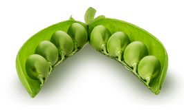 Fresh young green peas. Isolated on white background. Clipping Path Royalty Free Stock Photography