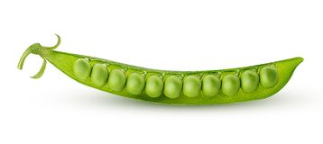 Fresh young green peas. Isolated on white background. Clipping Path. Full depth of field Stock Photo
