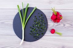 Fresh young onion and red radish. Young green onion on slate and radishes on wooden background, top view. Organic ingredients for delicious salad Stock Photo