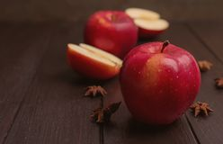 Fresh yummy apple. On wooden table Royalty Free Stock Photo