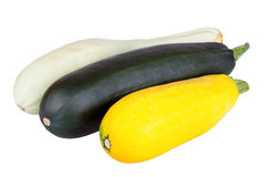 Fresh zucchini courgette isolated on white Royalty Free Stock Photos