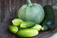Fresh zucchini and cucumbers on the wooden table. Stock Image