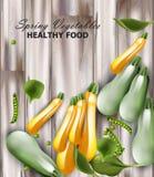 Fresh zucchini Vector realistic. wooden background. Green peas decor stock illustration